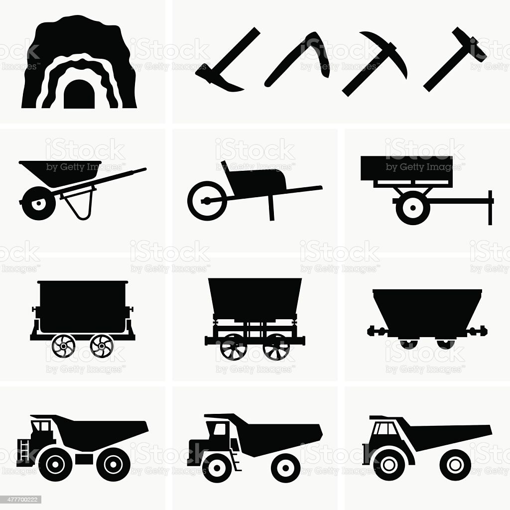 Mining tools and transport vector art illustration