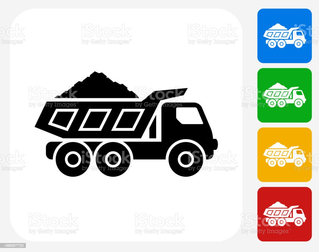 Mining Truck Icon Flat Graphic Design vector art illustration