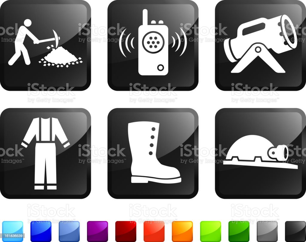 Mining Work Equipment royalty free vector icon set stickers royalty-free stock vector art