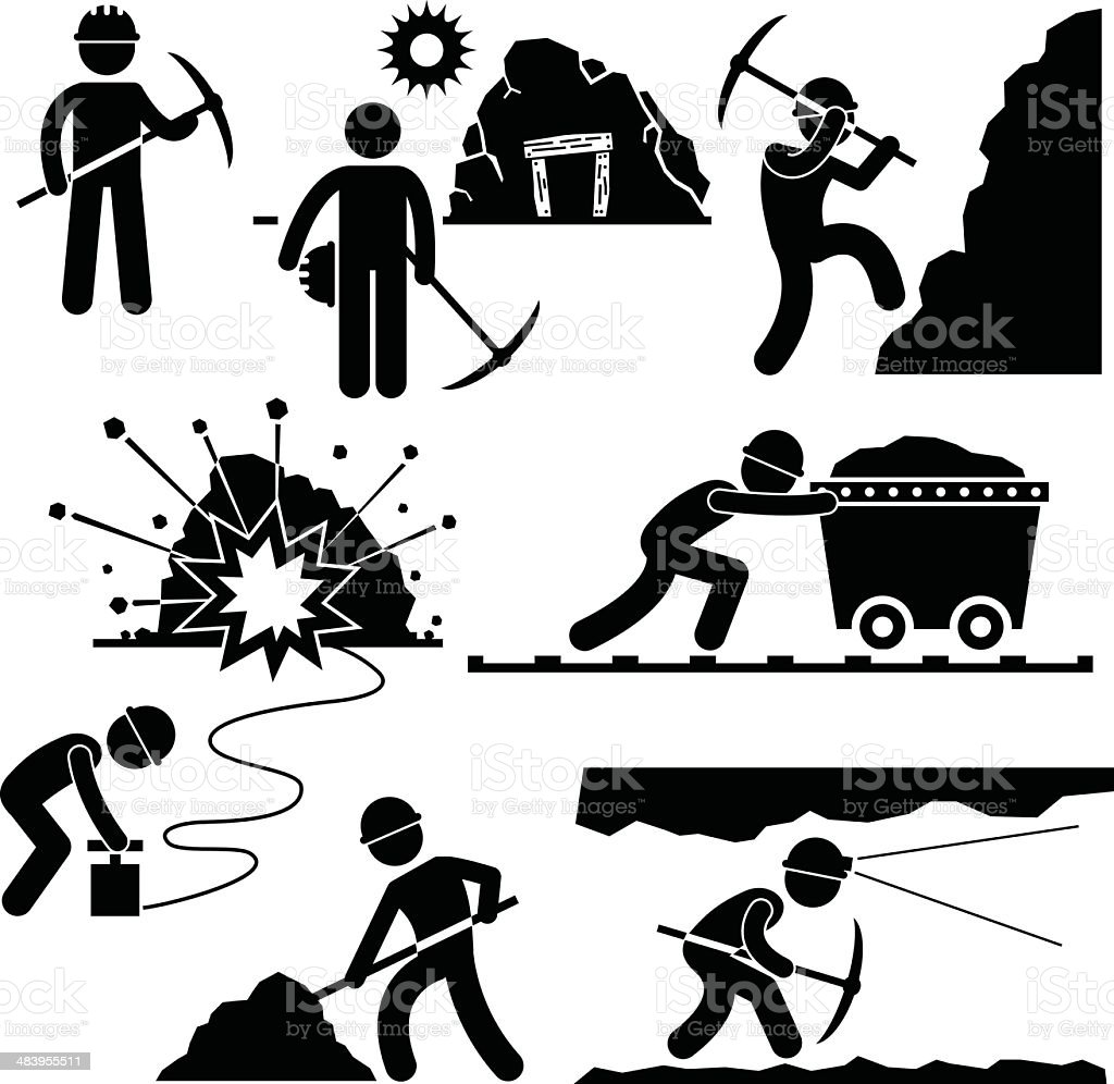 Mining Worker Miner Labor People Pictogram vector art illustration