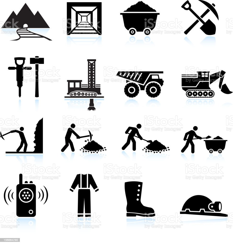 Mining Workers and Drilling black & white vector icon set vector art illustration