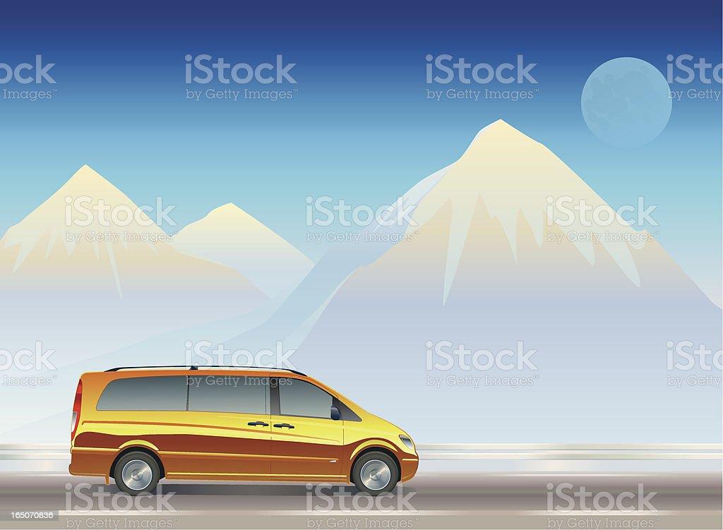 Minivan at Mountains royalty-free stock vector art