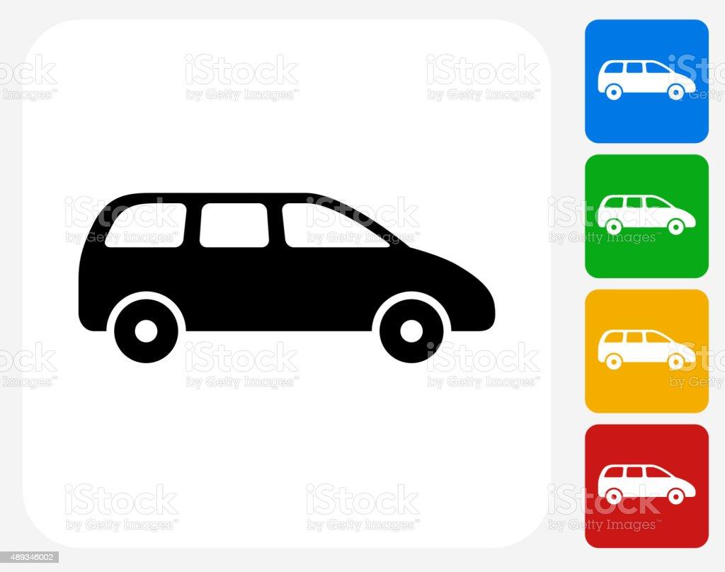 Minivan Icon Flat Graphic Design vector art illustration