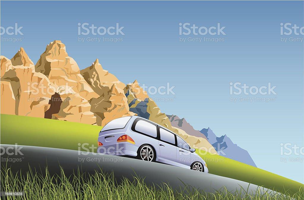 Minivan on the road royalty-free stock vector art