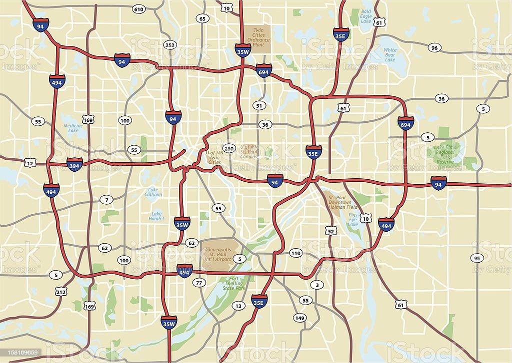 Minneapolis Area Street Map vector art illustration