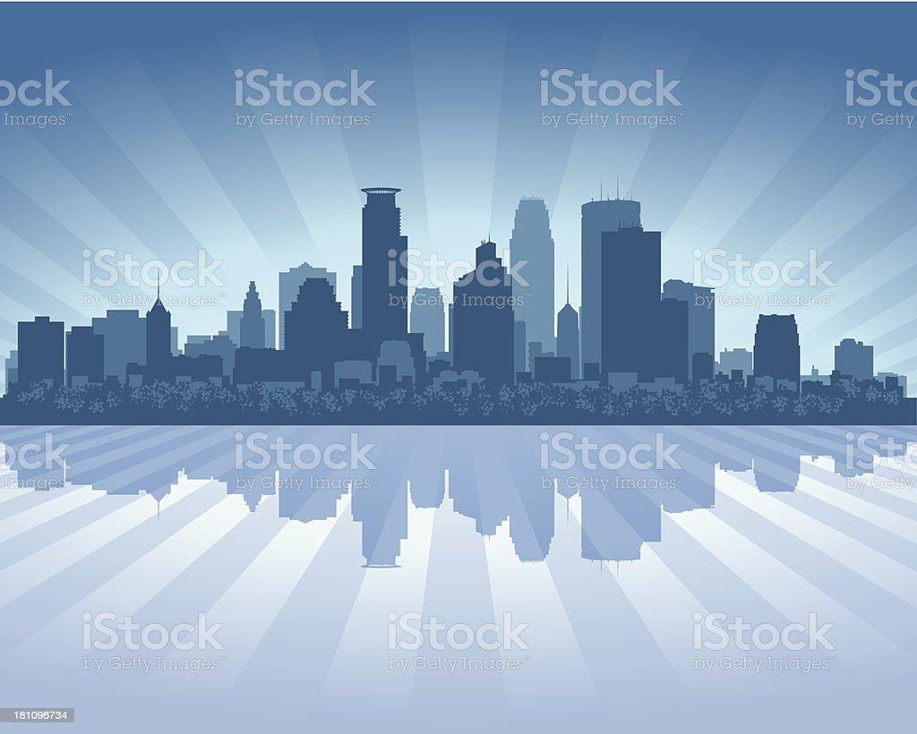 Minneapolis Blue City skyline silhouette vector art illustration