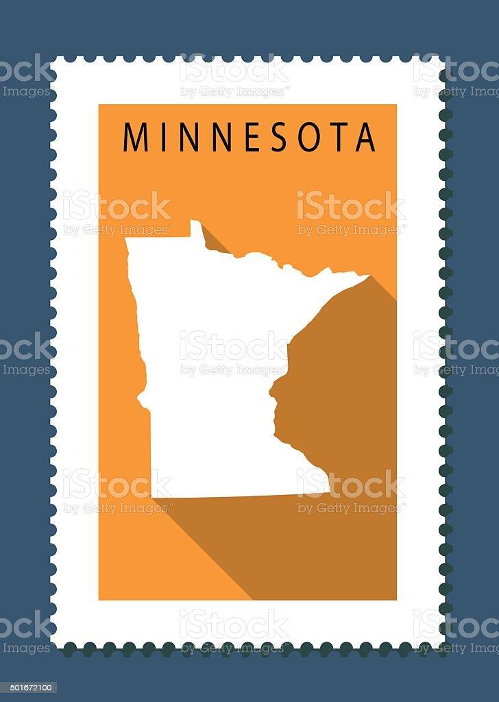 Minnesota Map on Orange Background, Long Shadow, Flat Design,stamp vector art illustration