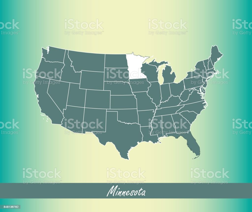 Minnesota Map Vector Outline Illustration Highlighted In Usa Map - Map of the us with mn highlighted