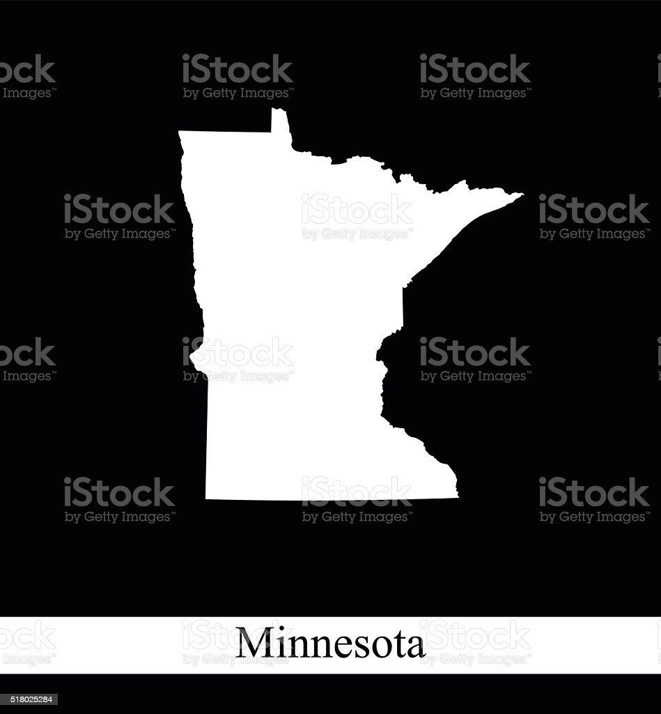 Minnesota map vector outline in black and white background vector art illustration