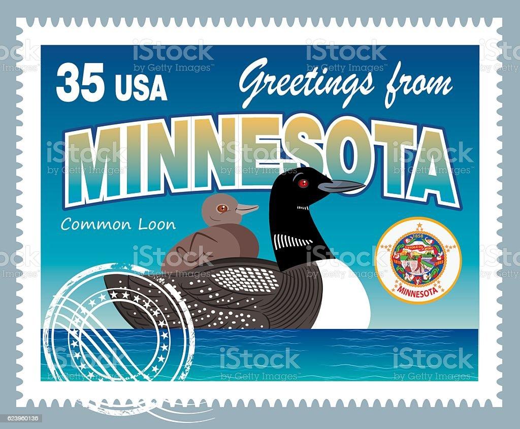 Minnesota Postage vector art illustration