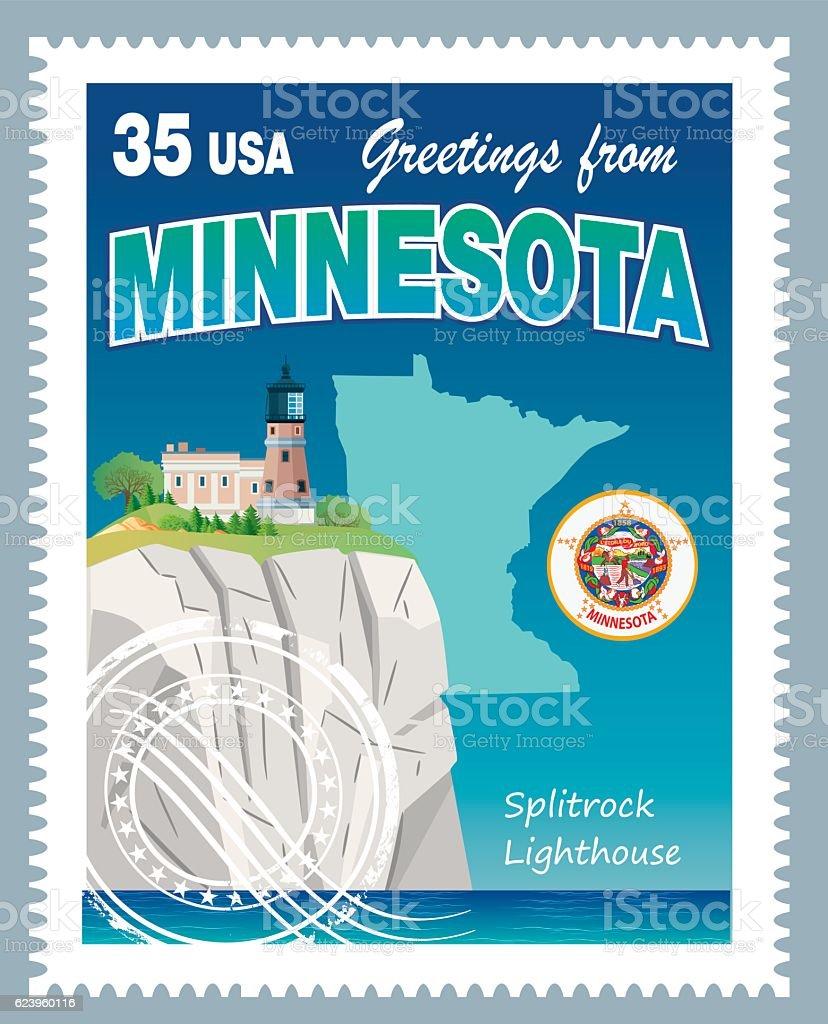Minnesota Stamp vector art illustration
