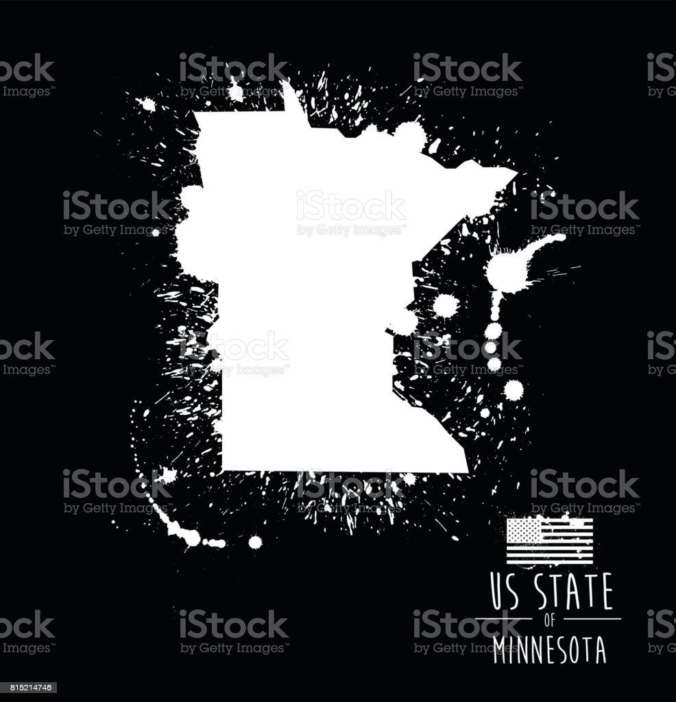 Estado De Minnesota Tinta Splat Grunge Ilustración Illustracion ...