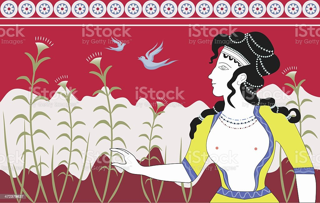Minoan Woman Fresco Illustration vector art illustration