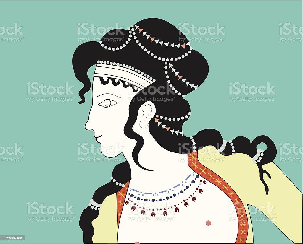 Minoan Woman Profile Illustration vector art illustration