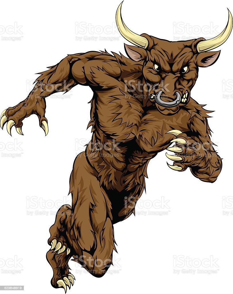 Minotaur bull sports mascot running vector art illustration