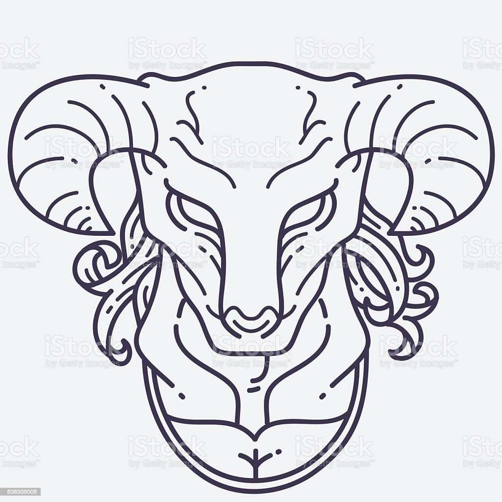 Minotaur Head vector art illustration