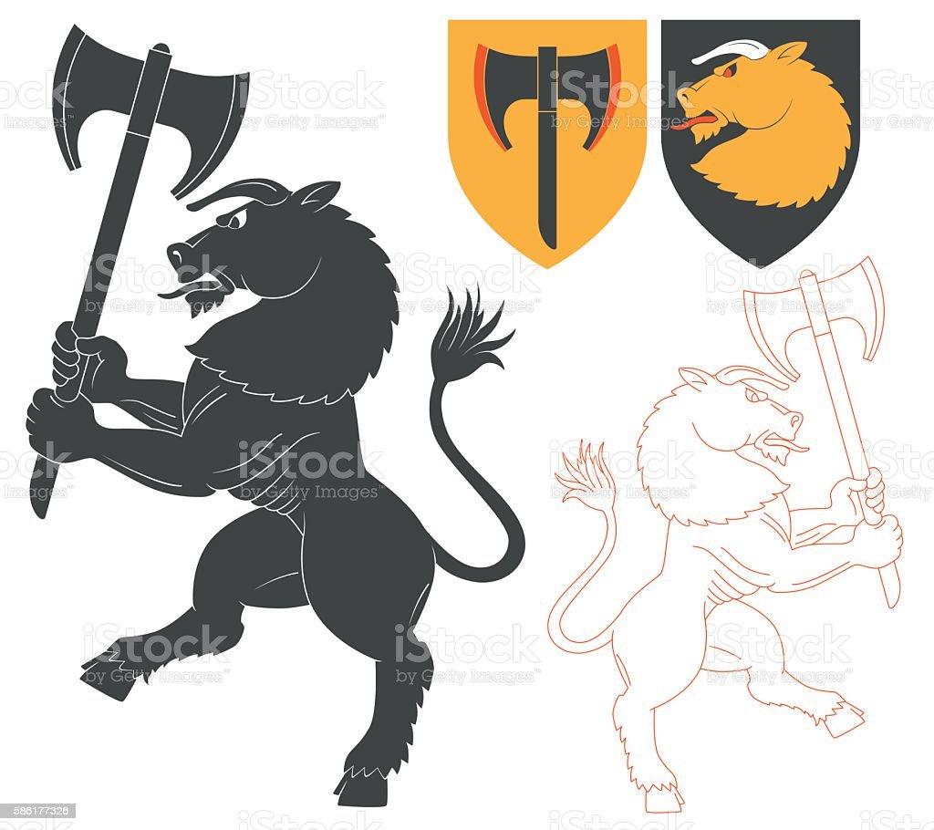 Minotaur with a Axe vector art illustration