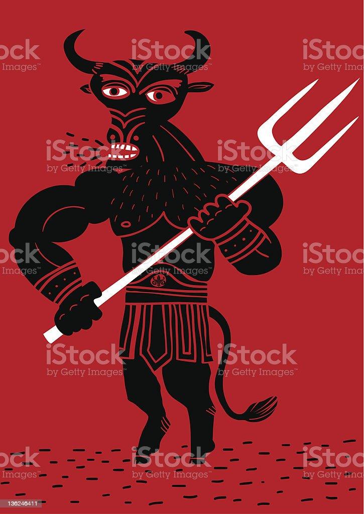 Minotaur with trident vector art illustration
