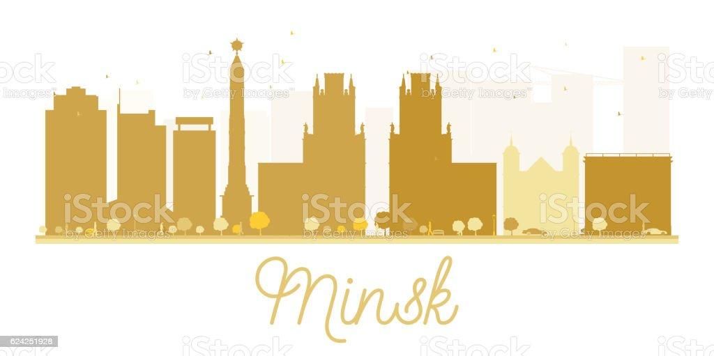 Minsk City skyline golden silhouette. vector art illustration