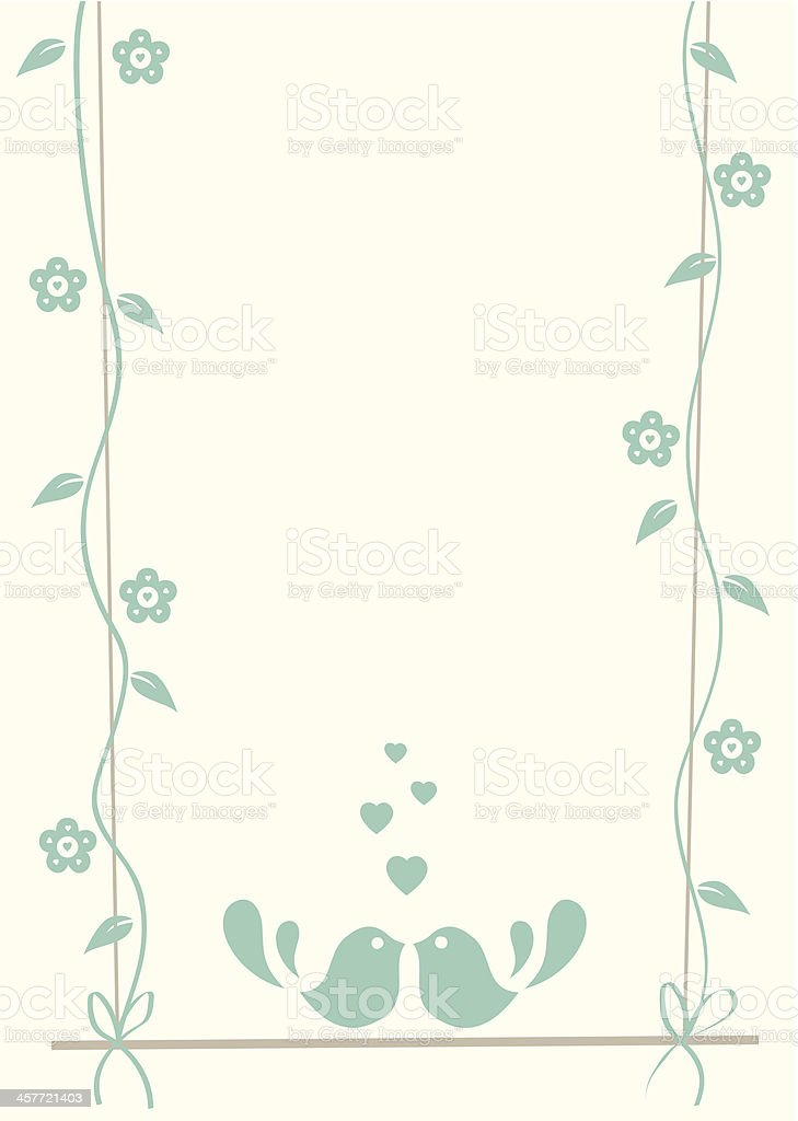 Mint green color flower frame with lovebirds royalty-free stock vector art