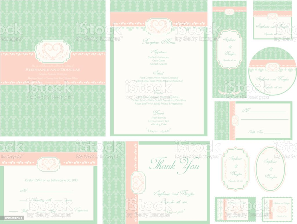 Mint Green Damask Wedding Invitation royalty-free stock vector art