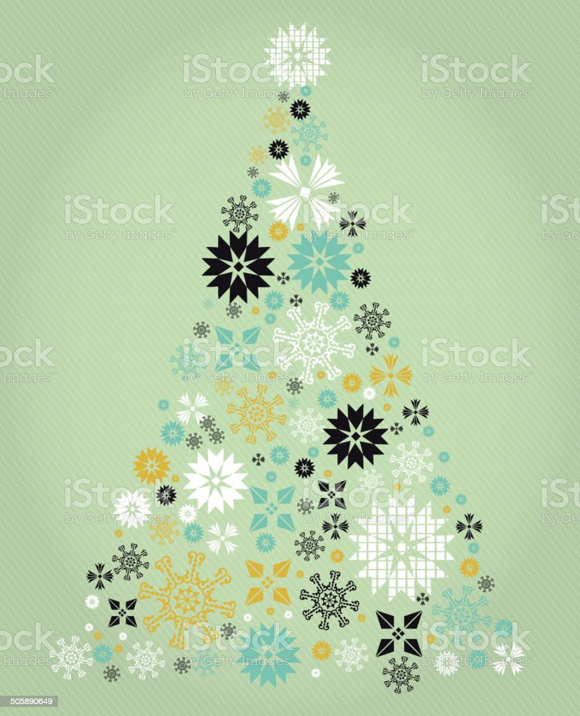 Mint green kitschy vintage Christmas greeting design with Christmas trees royalty-free stock vector art