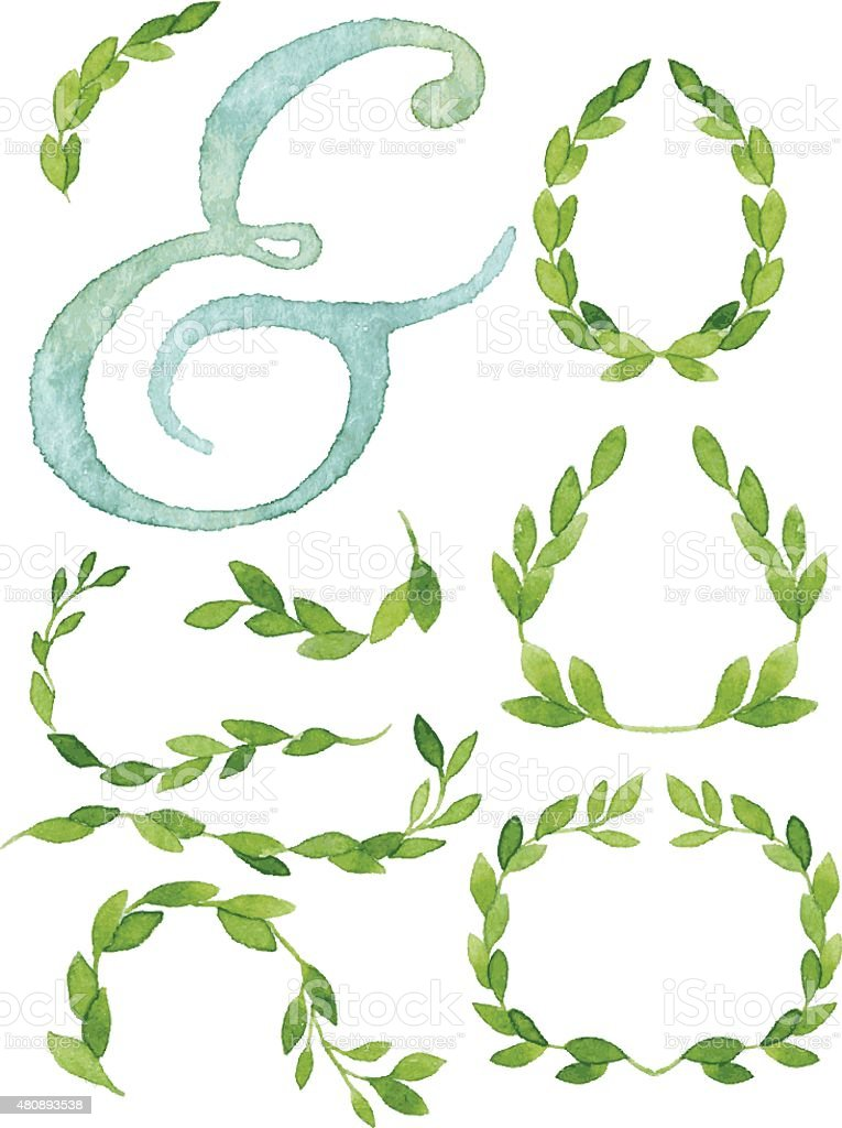 Mint green watercolor ampersand and collection of leaves and branches vector art illustration