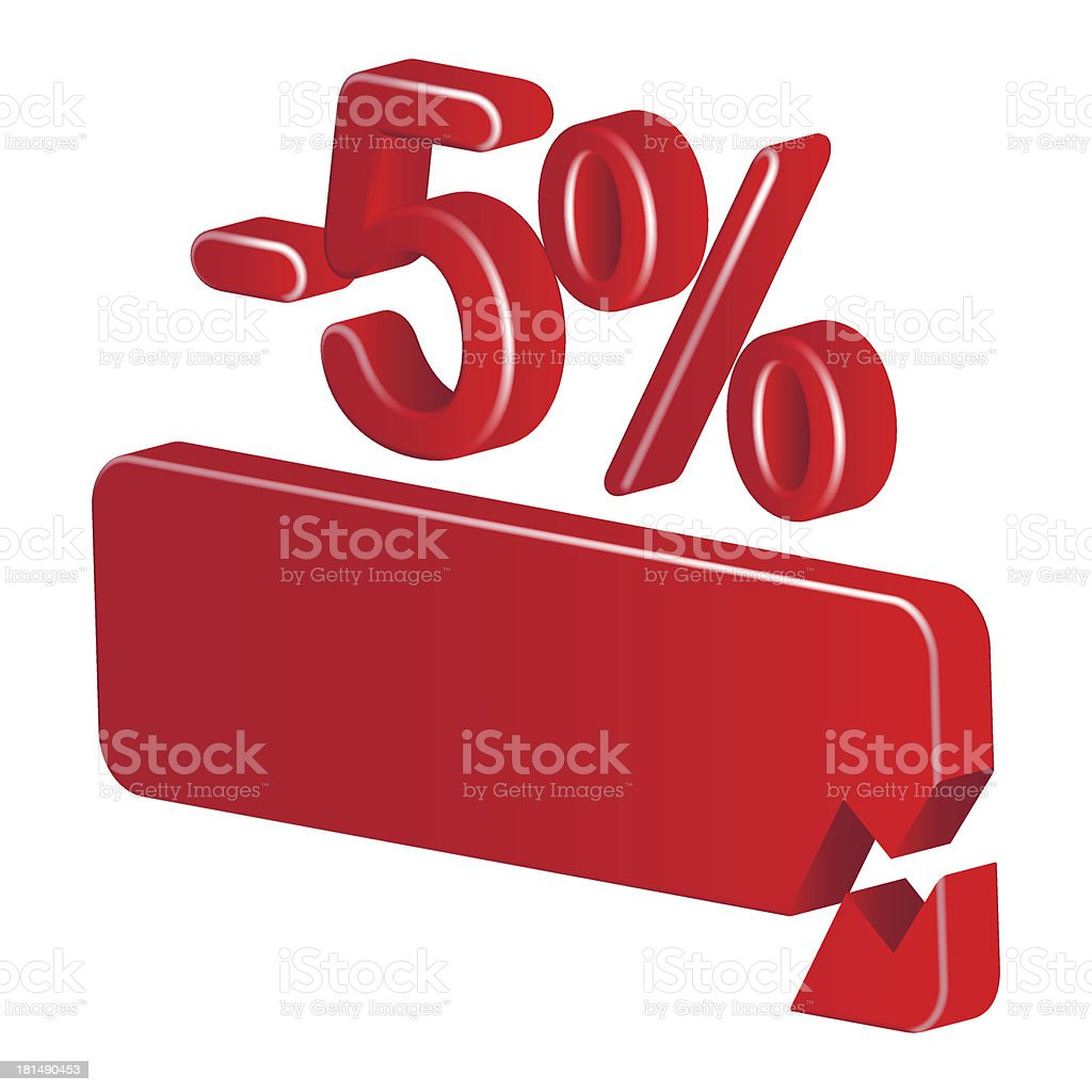 Minus five per cent (red) royalty-free stock vector art