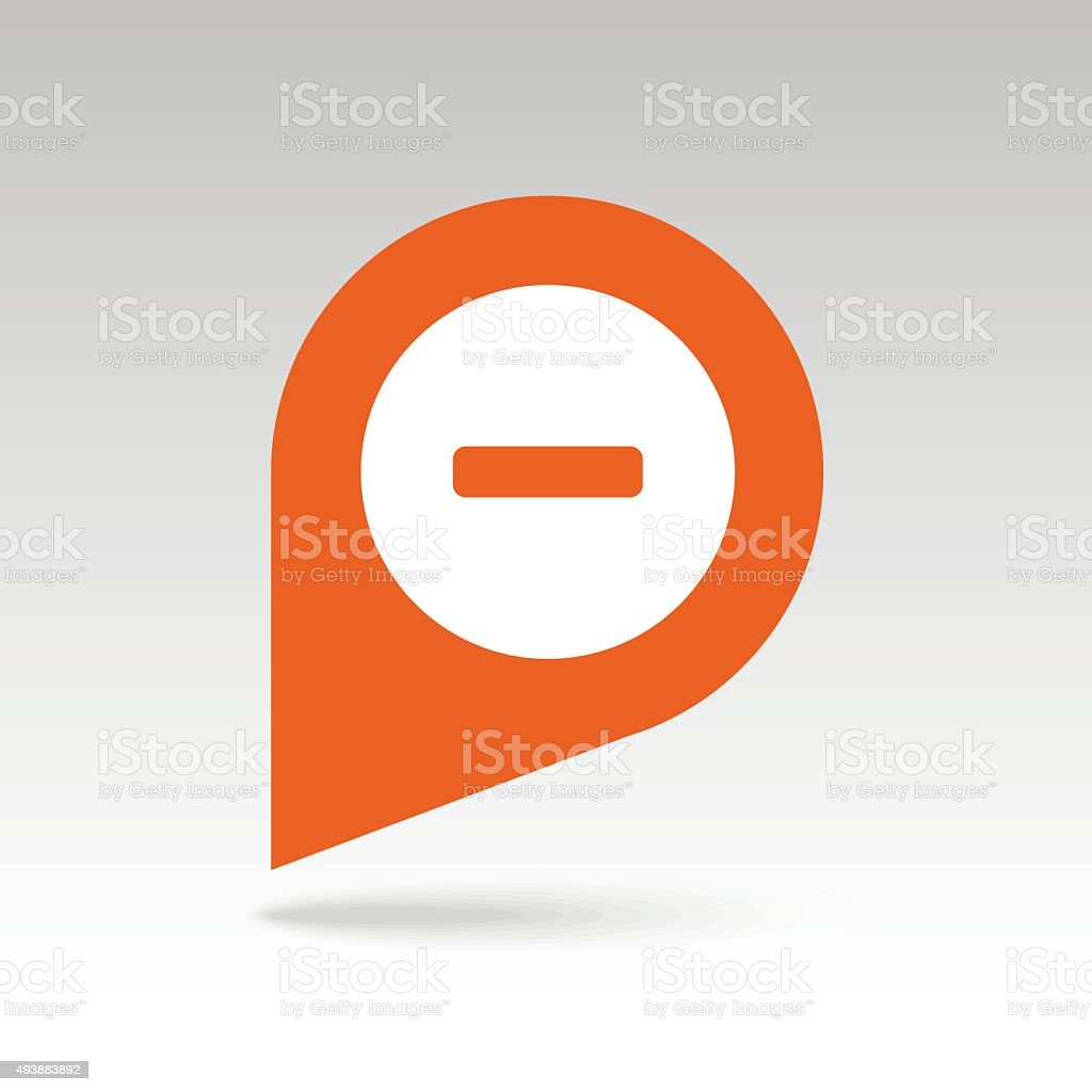 Minus pin map icon. Map pointer, markers. vector art illustration