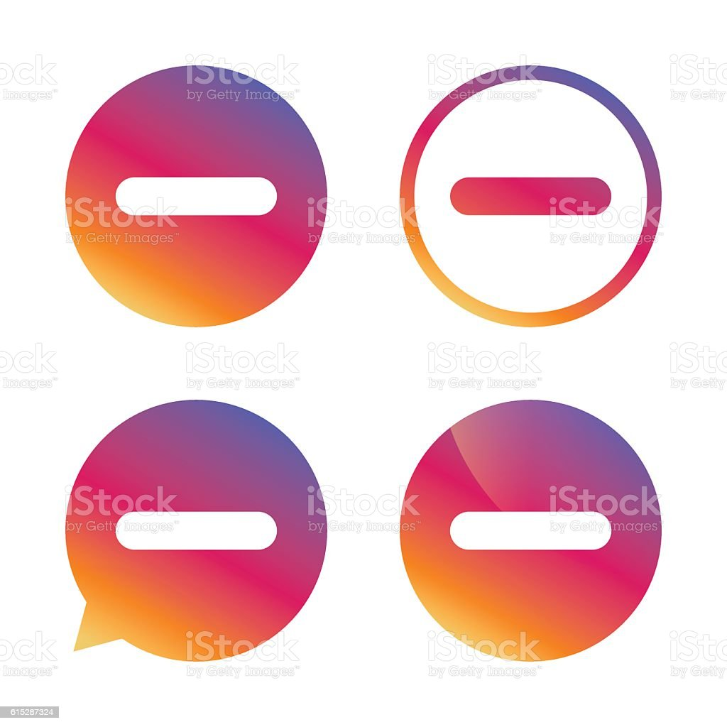 Minus sign icon. Negative symbol. vector art illustration