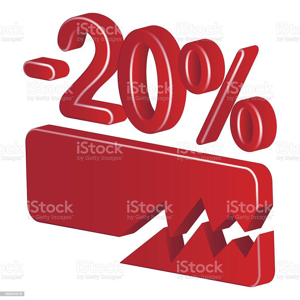 Minus twenty per cent (red) royalty-free stock vector art