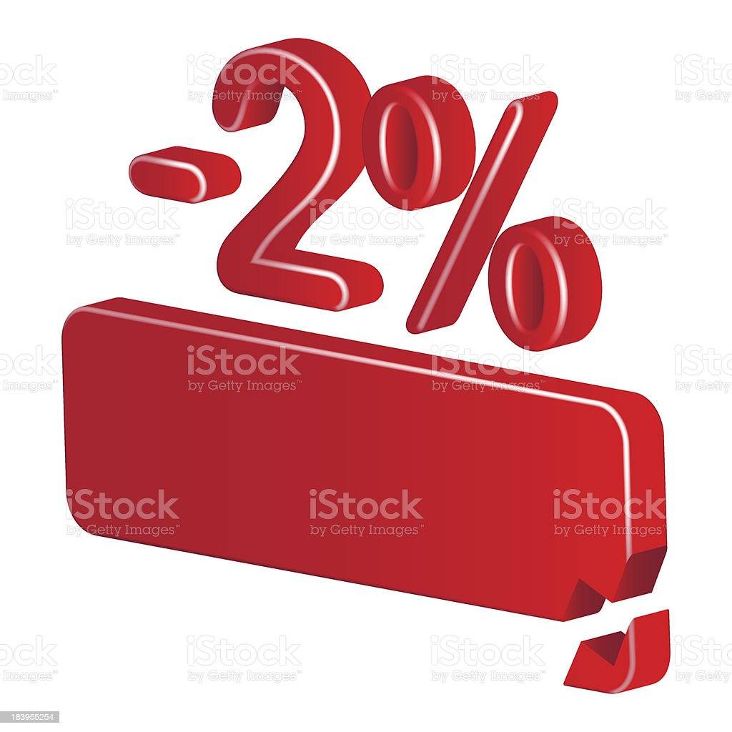 Minus two per cent (red) royalty-free stock vector art