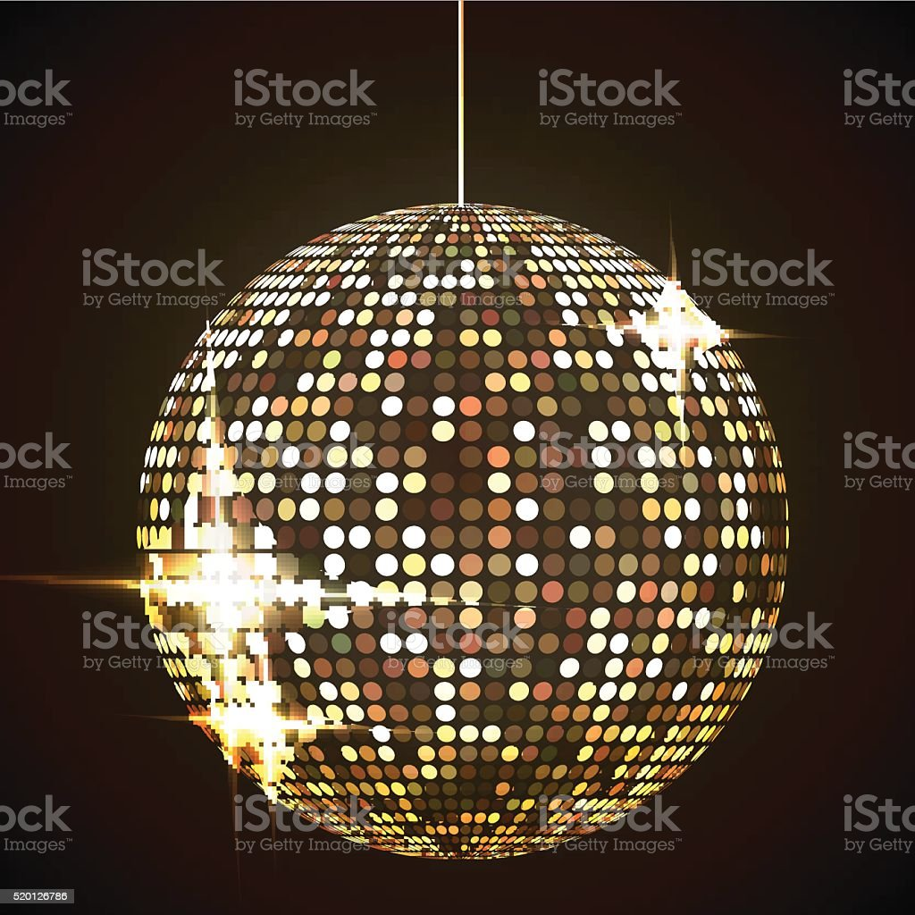 Mirror disco ball vector illustration. Glamorous shpere. Glowing design element vector art illustration