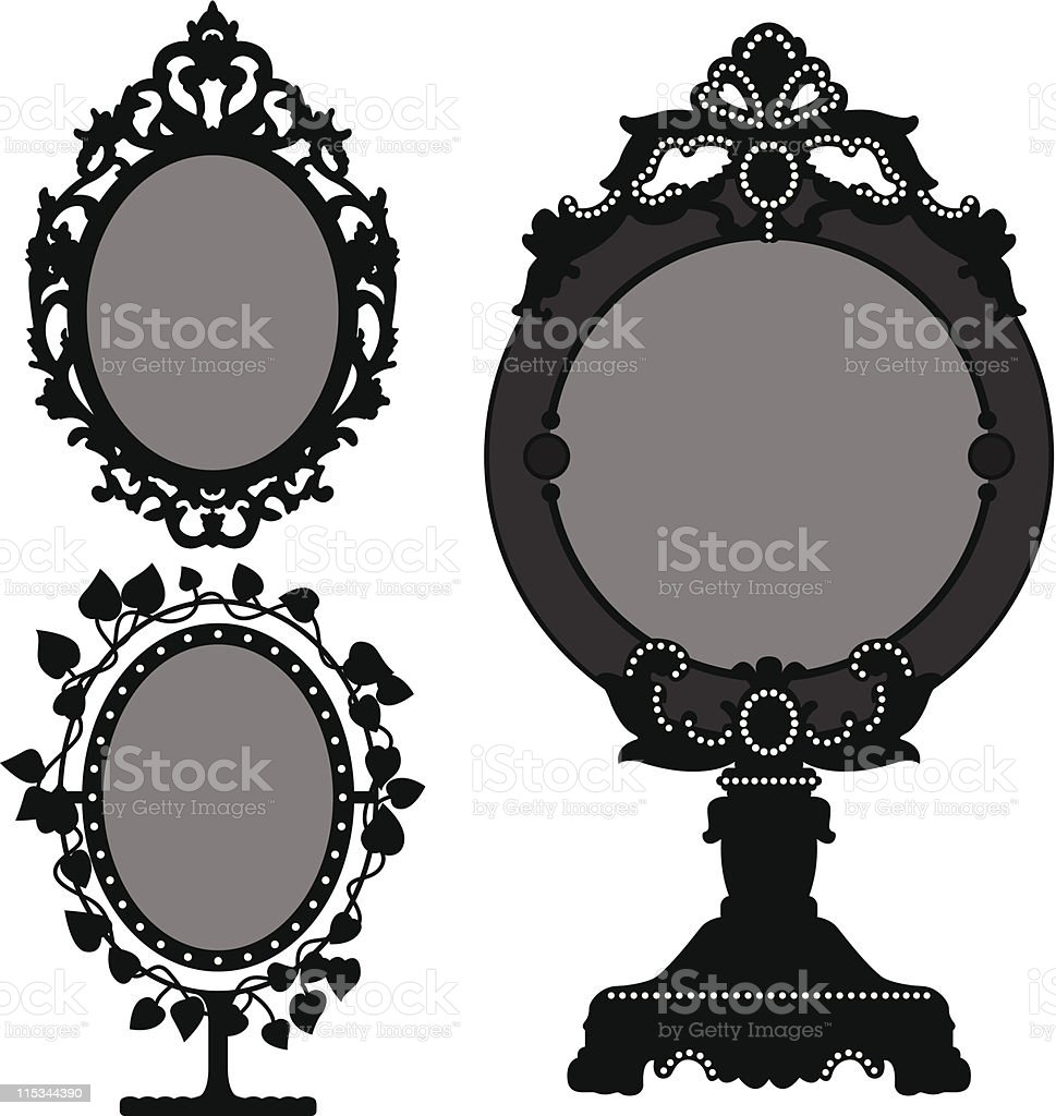Mirror Ornate Vintage Retro vector art illustration