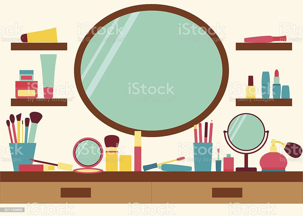 Mirror, shelves and dressing table with make up scattered around vector art illustration