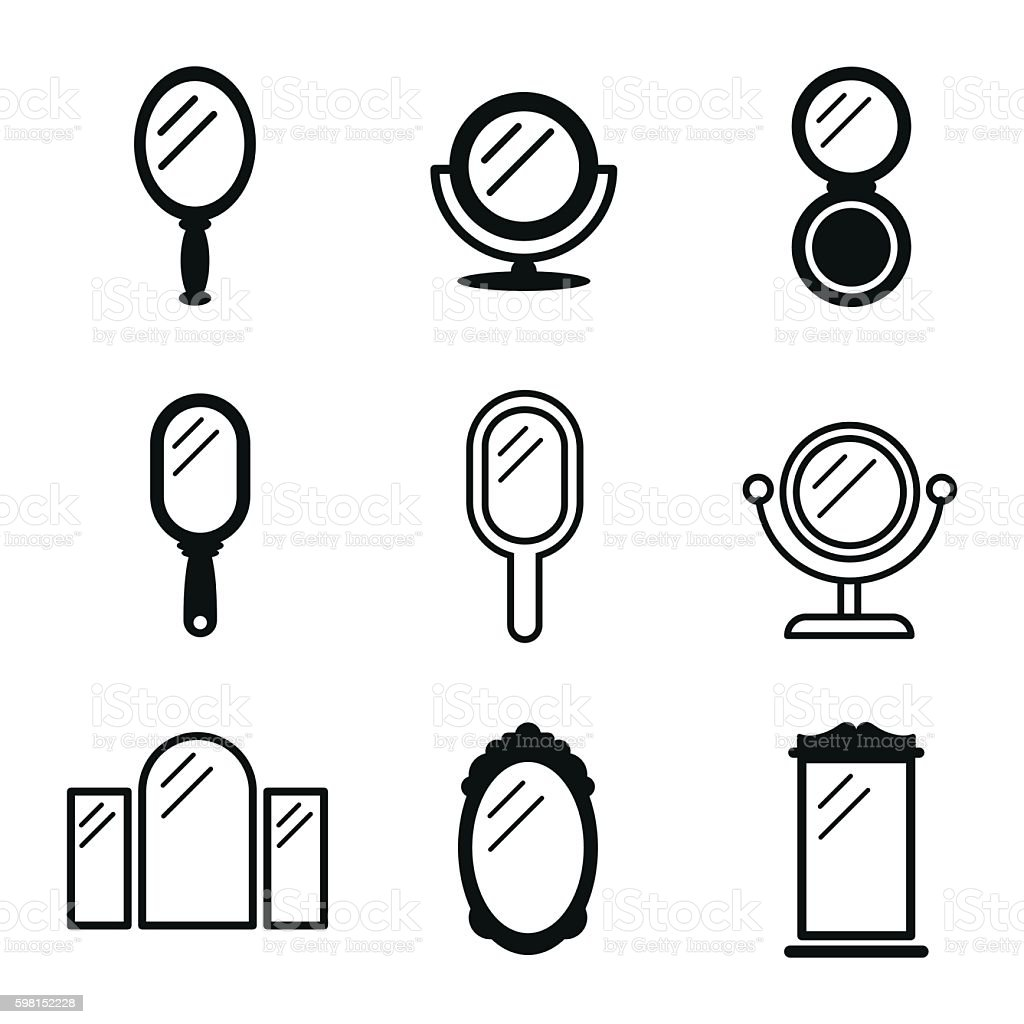 Mirror vector icons. vector art illustration