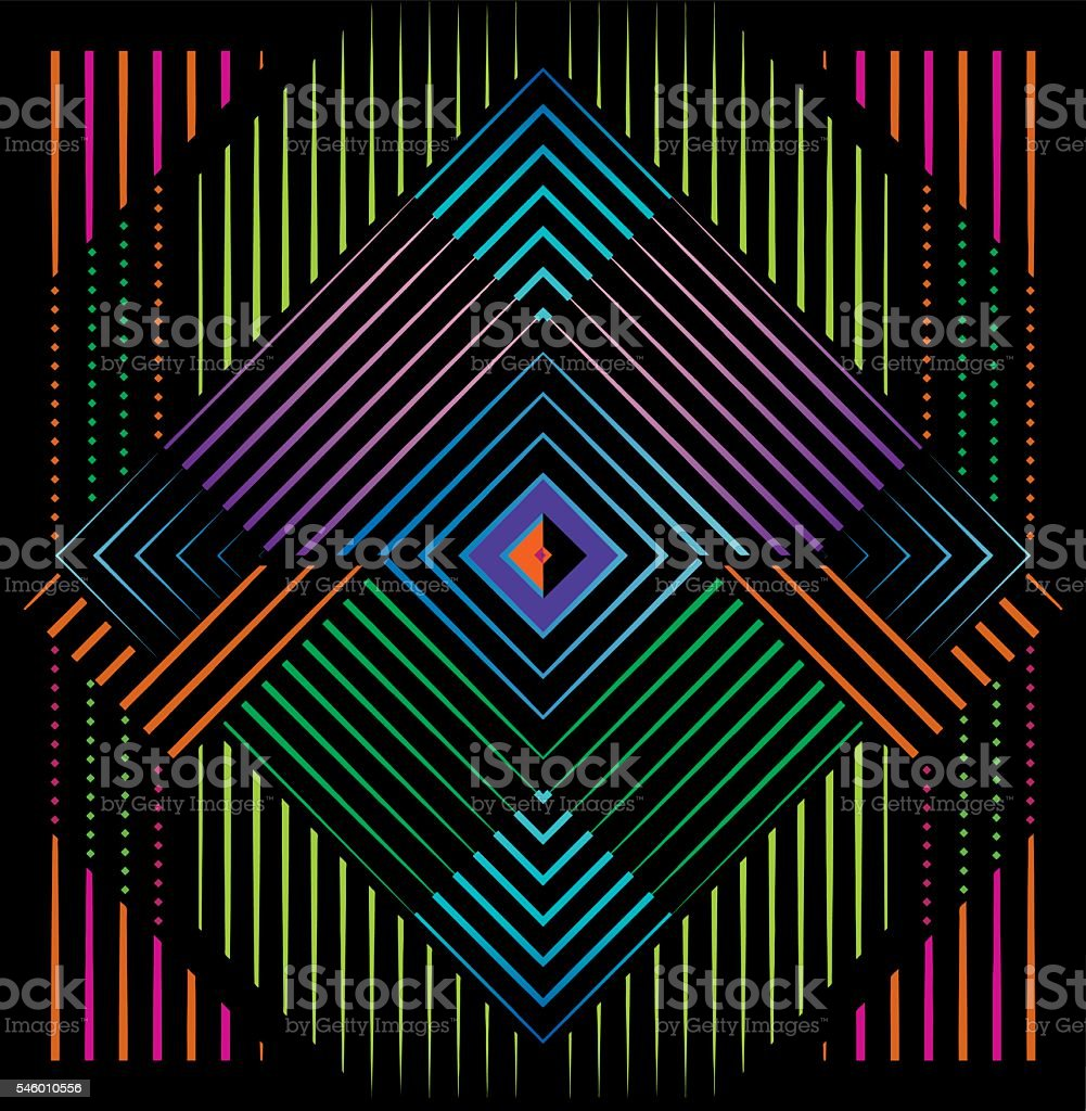 Mirrored Pattern Filled with Neon Colors and Black Background vector art illustration