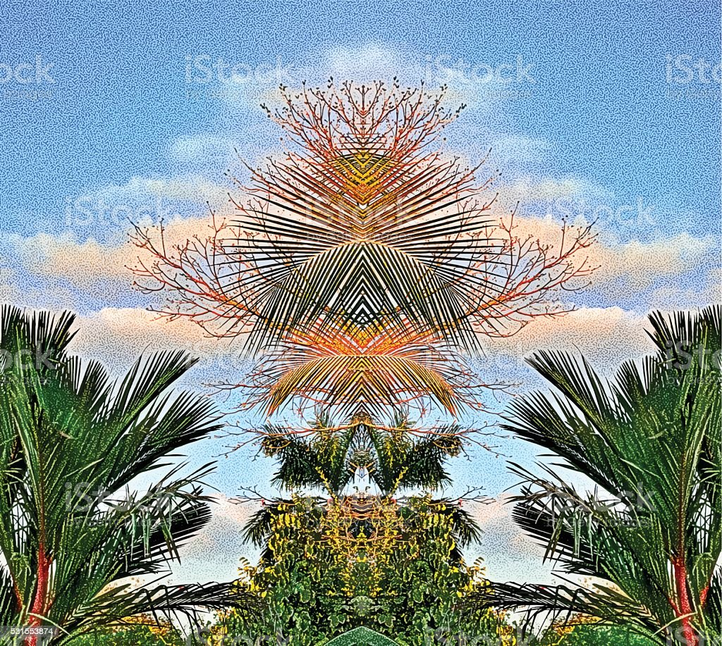 Mirrored Pattern Jungle Palm Trees vector art illustration