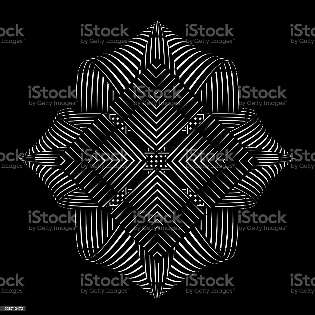 Mirrored pattern vector element, on black background vector art illustration