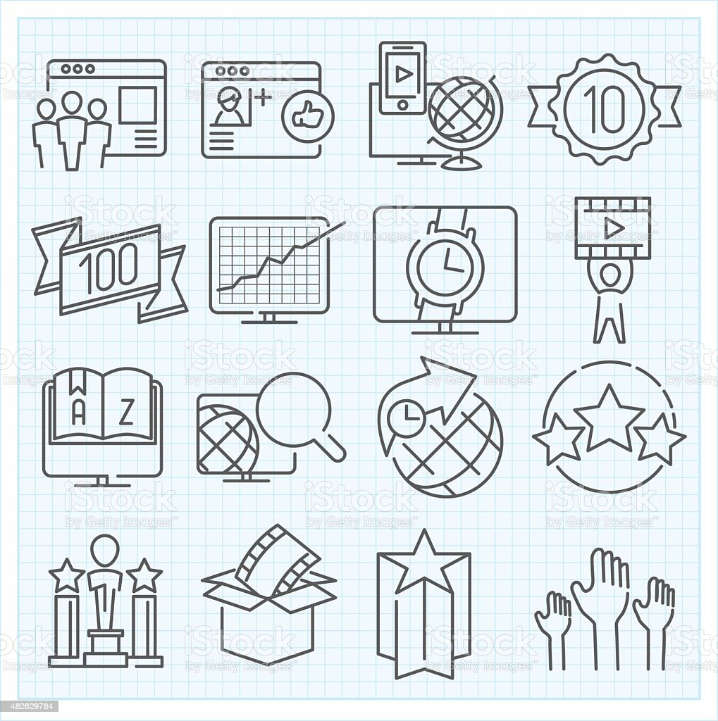 Miscellaneous icons set vector art illustration