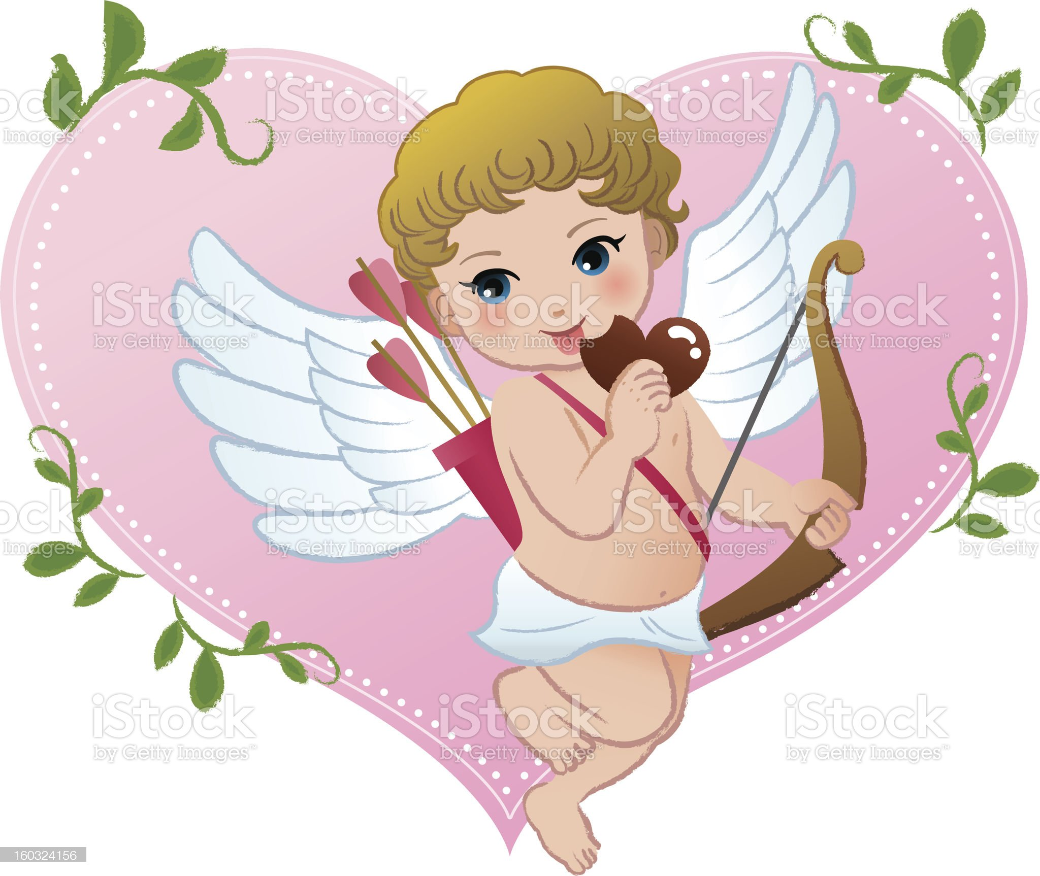 Mischief cupid snibbling heart shaped chocolate royalty-free stock vector art