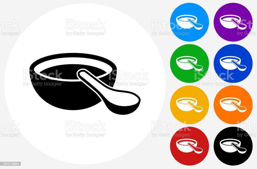 Miso Soup Icon on Flat Color Circle Buttons vector art illustration