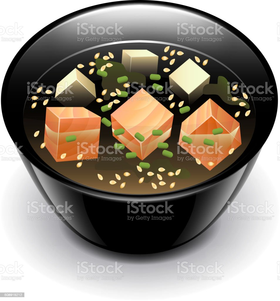 Miso soup isolated on white vector vector art illustration