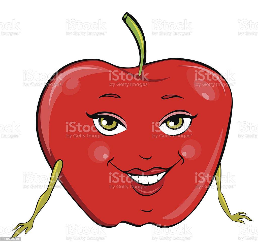 Miss Apple vector art illustration
