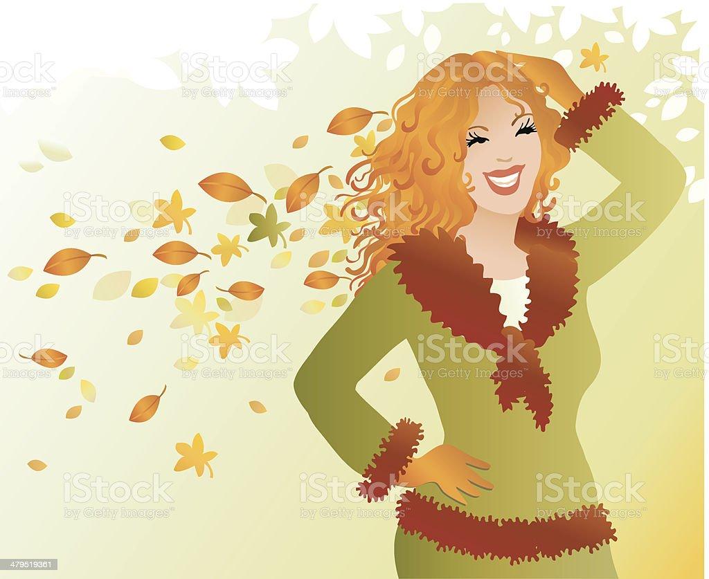 Miss Autumn royalty-free stock vector art