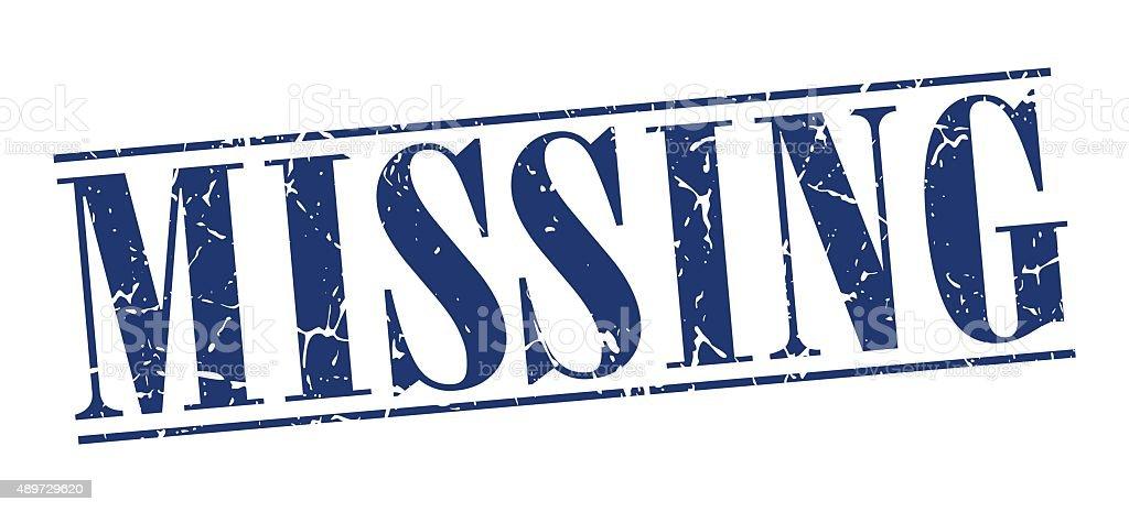 missing blue grunge vintage stamp isolated on white background vector art illustration