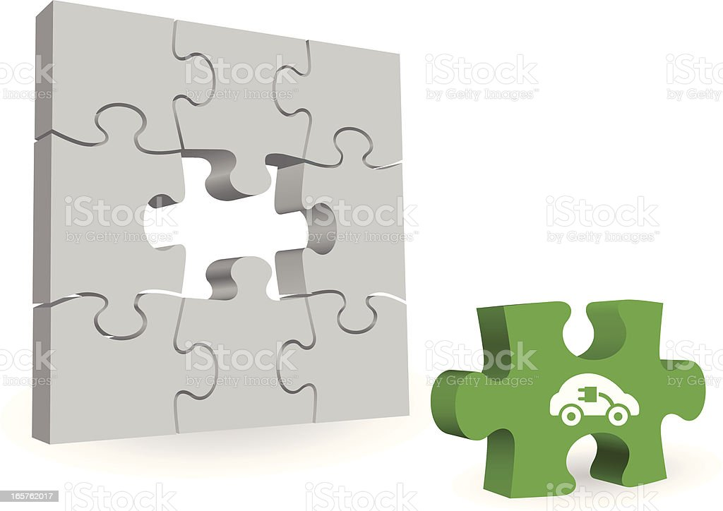 missing electric car puzzle piece royalty-free stock vector art