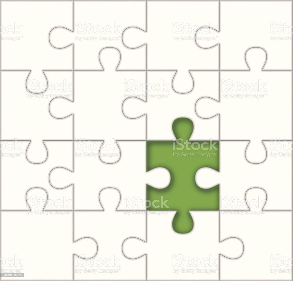 Missing Puzzle Piece Template vector art illustration