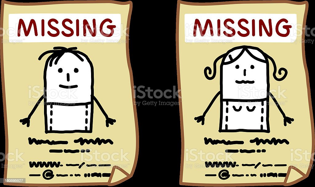 missing young people vector art illustration