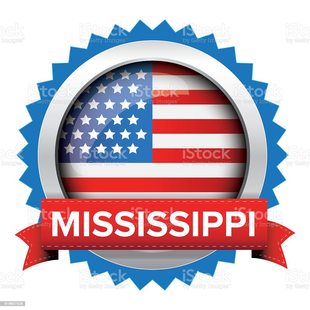 Mississippi and USA flag badge vector vector art illustration
